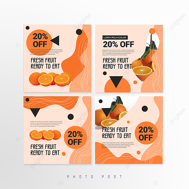 pink simple shape mosaic style fruit promotion social media promotion template