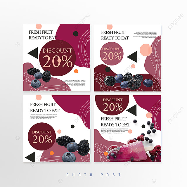 purple simple line stitching style fruit promotion social media promotion template