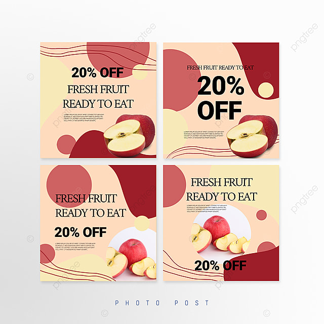 red simple mosaic style fruit promotion social media promotion template