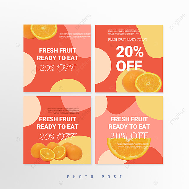 red simple shape mosaic style fruit promotion social media promotion template