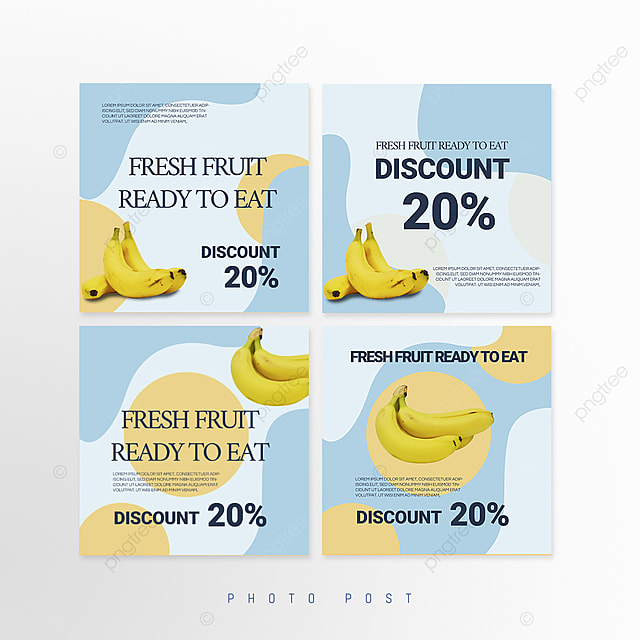 simple blue mosaic style fruit promotion social media promotion template