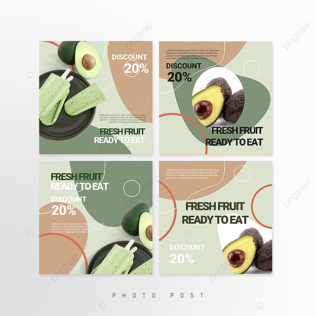 simple green fresh splicing style fruit promotion social media promotion template