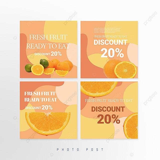 simple orange mosaic style fruit promotion social media promotion template