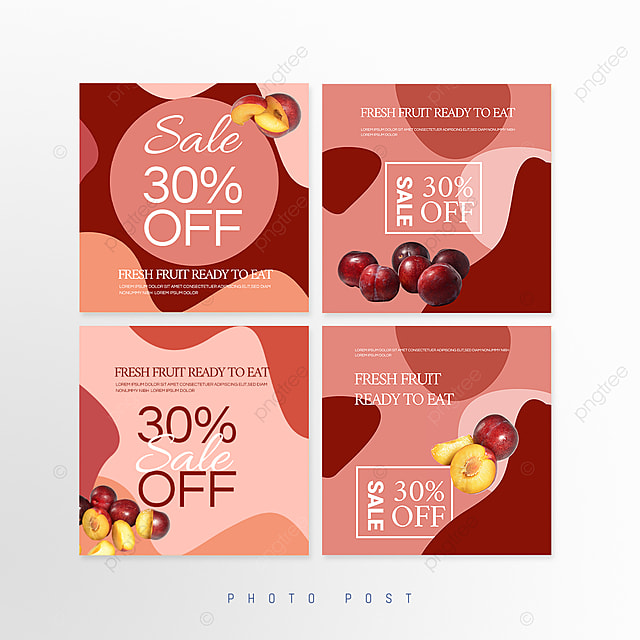 simple red mosaic style fruit promotion social media promotion template