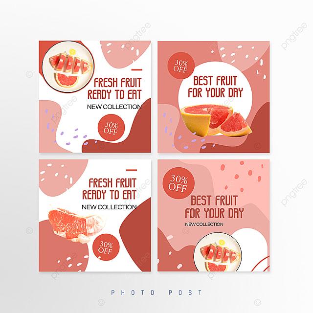 simple shape mosaic style fruit promotion social media promotion template