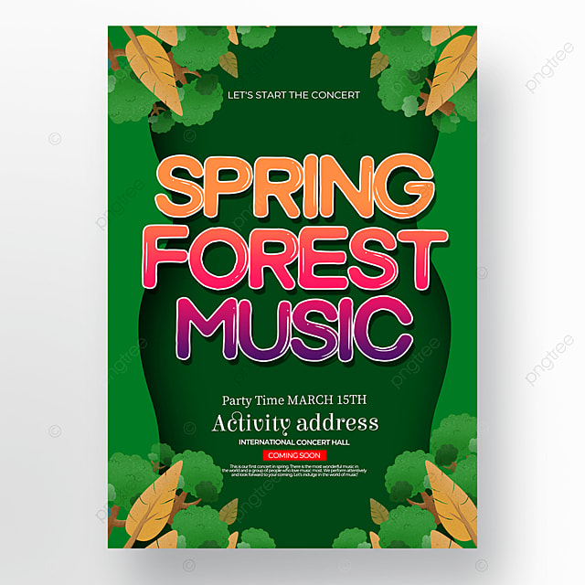 cartoon style green spring concert poster