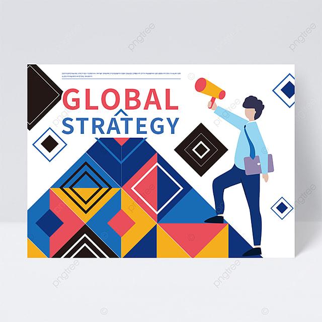 global strategy business creative rhombus cartoon character flyer