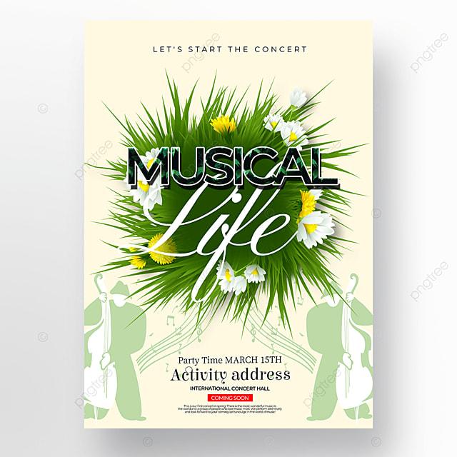 green grass element creative spring concert poster