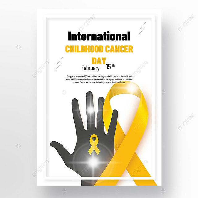 yellow international child cancer day poster