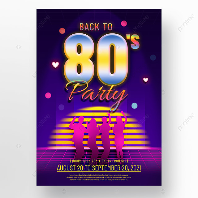 blue neon light effect 80s retro party poster