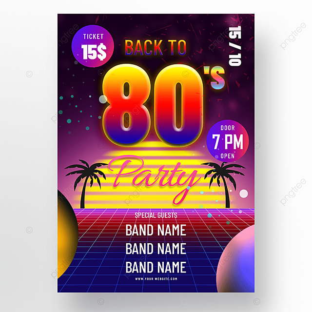 colorful neon 80s retro party poster