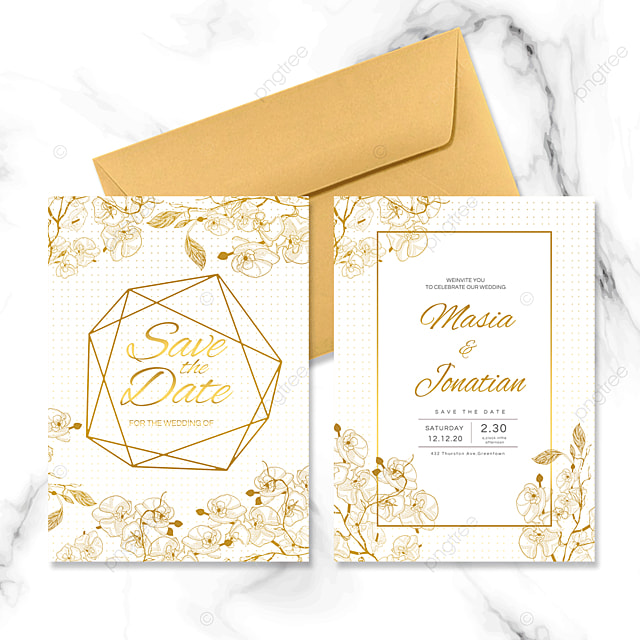 geometric border golden wedding invitation