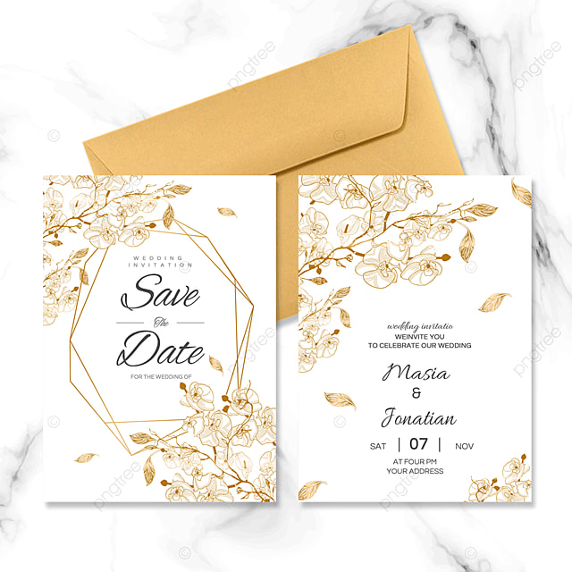 golden border simple wedding invitation