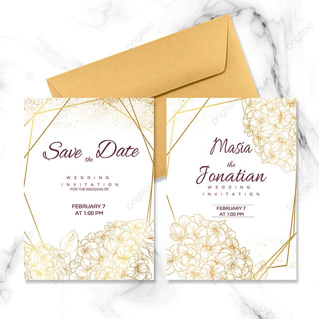 golden flower decoration wedding invitation