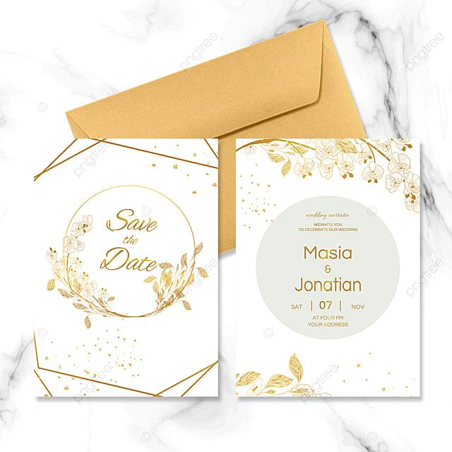golden geometric border wedding invitation