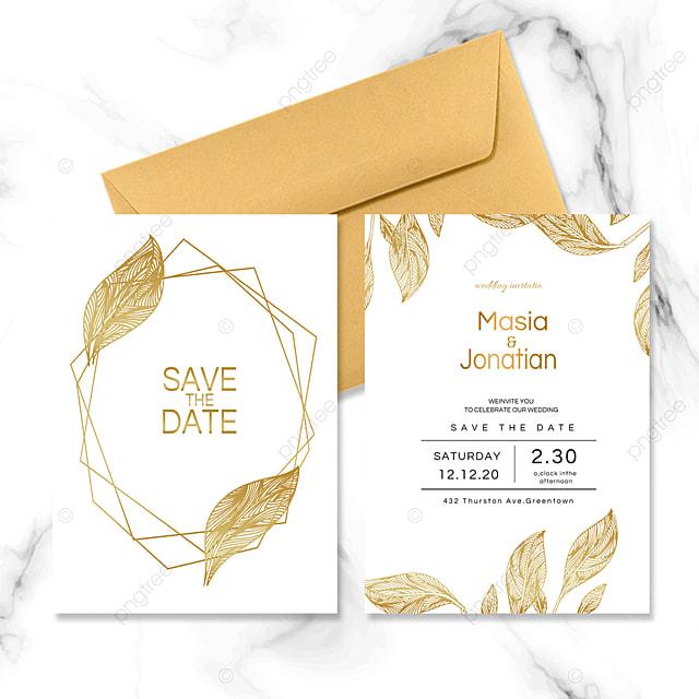 golden geometric wedding invitation
