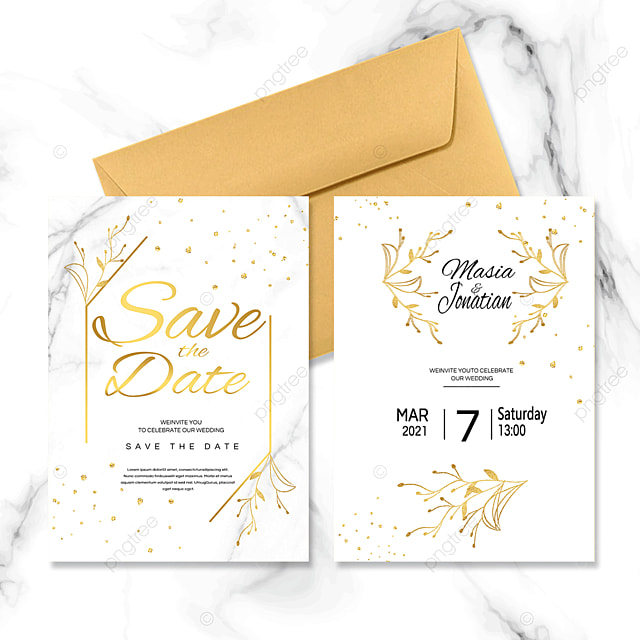 golden line plant wedding invitation