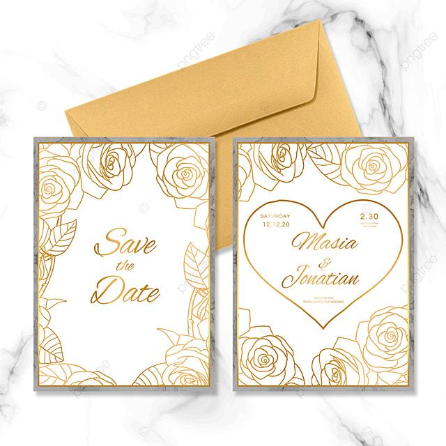 golden line rose wedding invitation