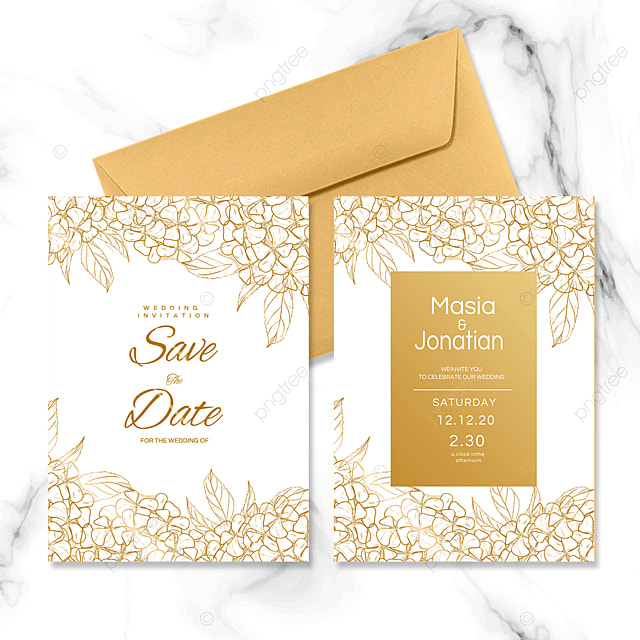 golden line small flower wedding invitation