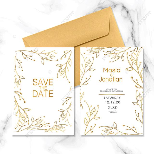 golden line wedding invitation