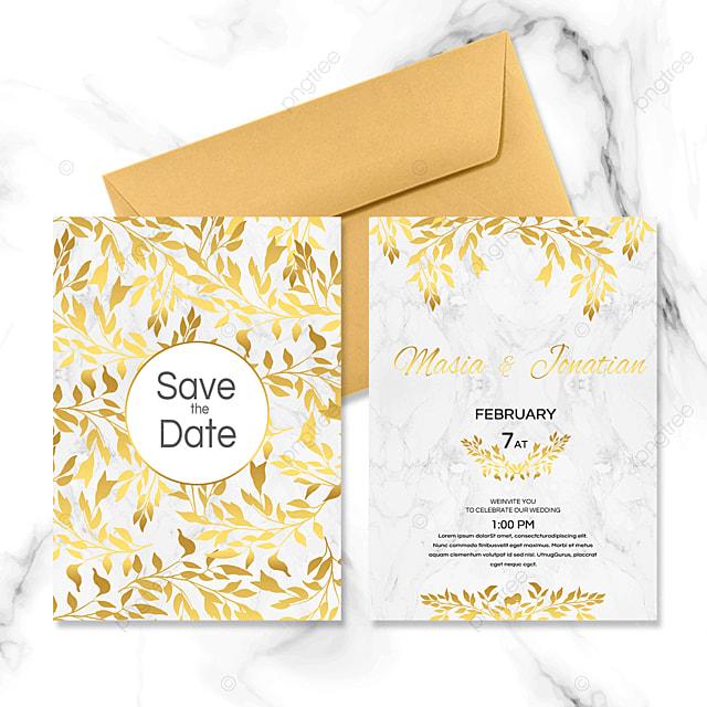 golden plant wedding invitation