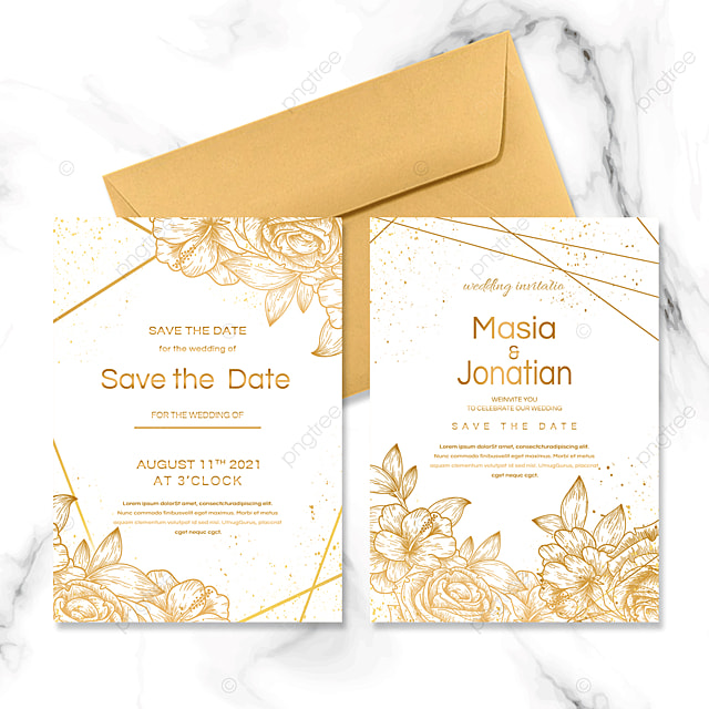 golden rose line wedding invitation