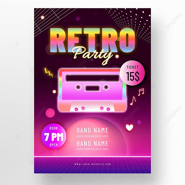 purple neon retro party poster