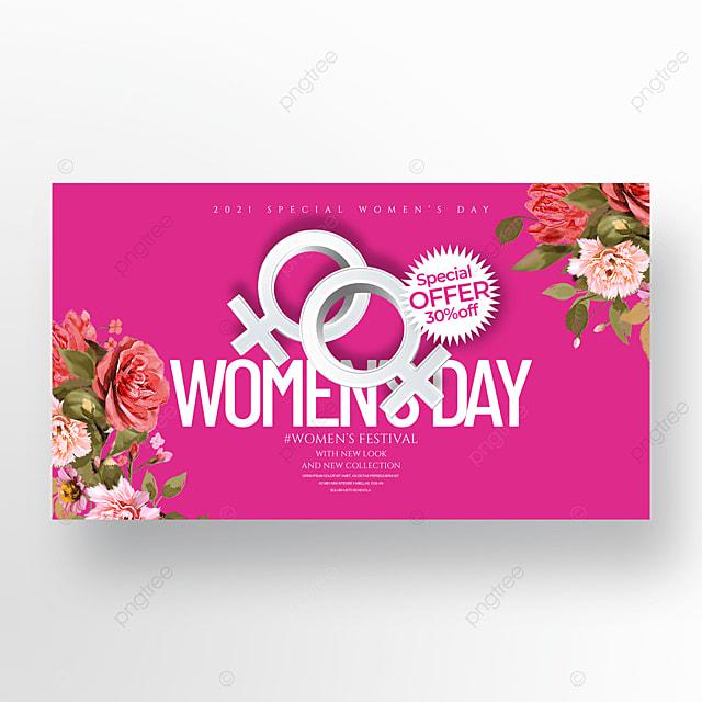 romantic flower cartoon three dimensional 38 womens day banner