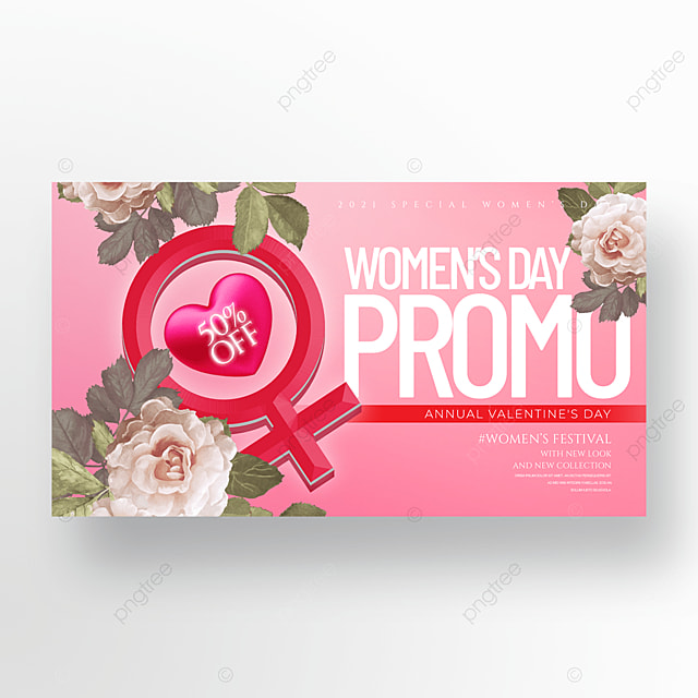 romantic three dimensional flower 38 womens day promotion banner