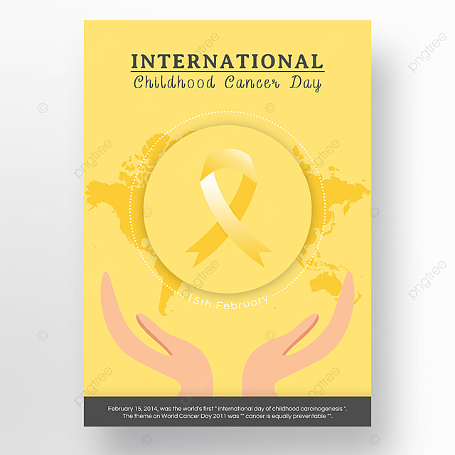 yellow gray international child cancer day poster
