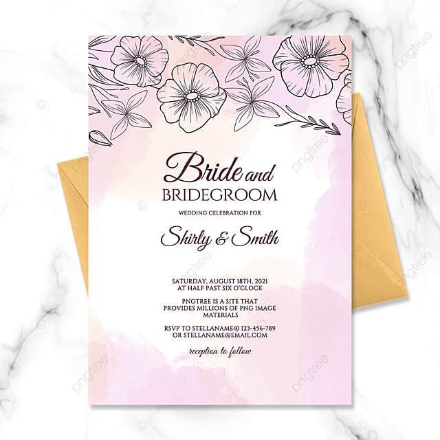 beautiful hand painted floral watercolor smudge wedding invitation