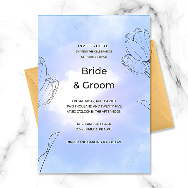 blue exquisite line drawing flower watercolor smudge art wedding invitation