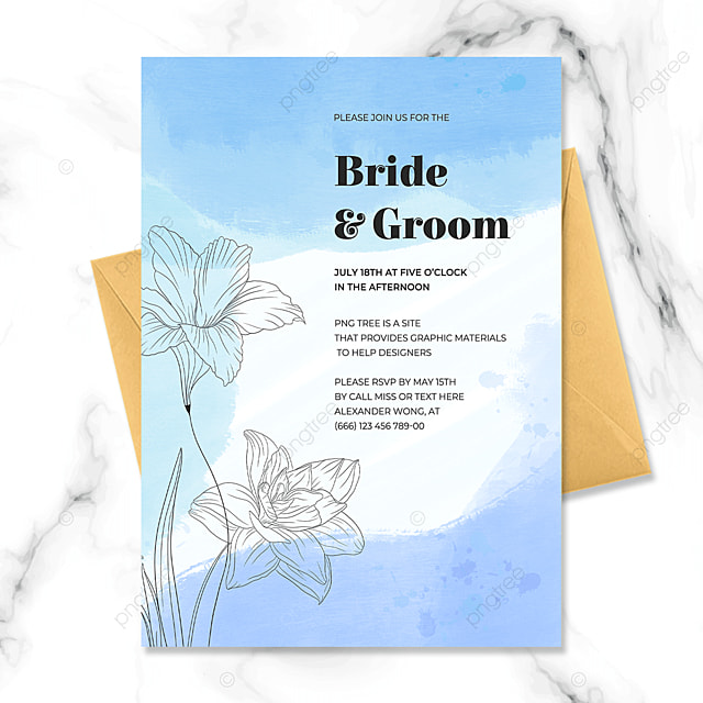 blue hand painted flowers watercolor blooming wedding invitation