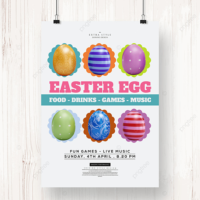 cartoon cute retro easter egg poster