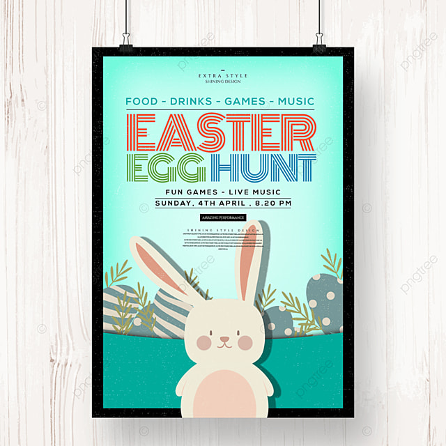 cartoon easter egg bunny holiday poster