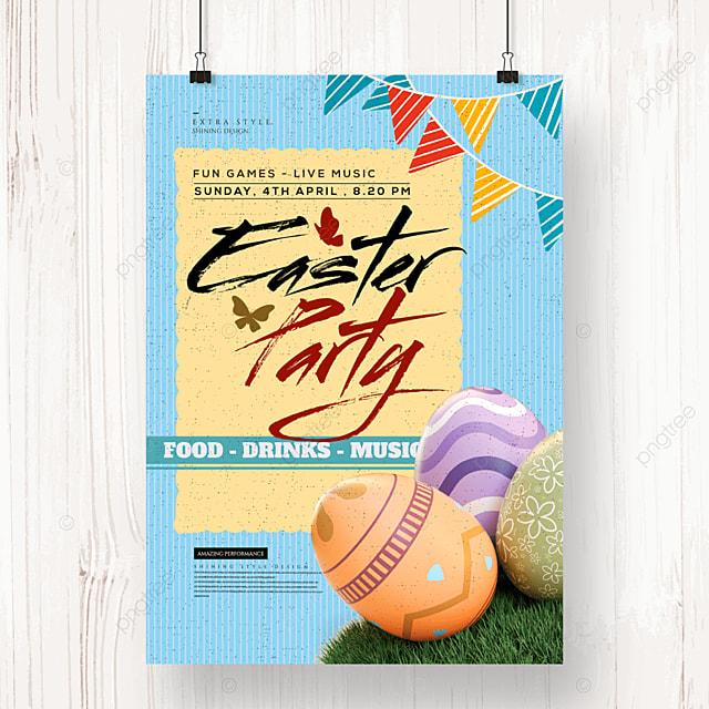 cartoon fashion easter egg festival poster