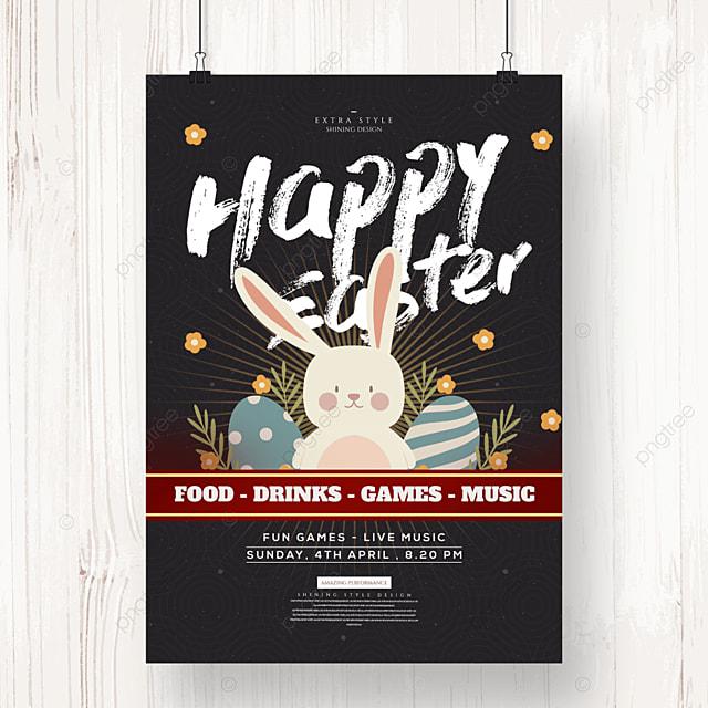 cartoon retro easter egg holiday poster