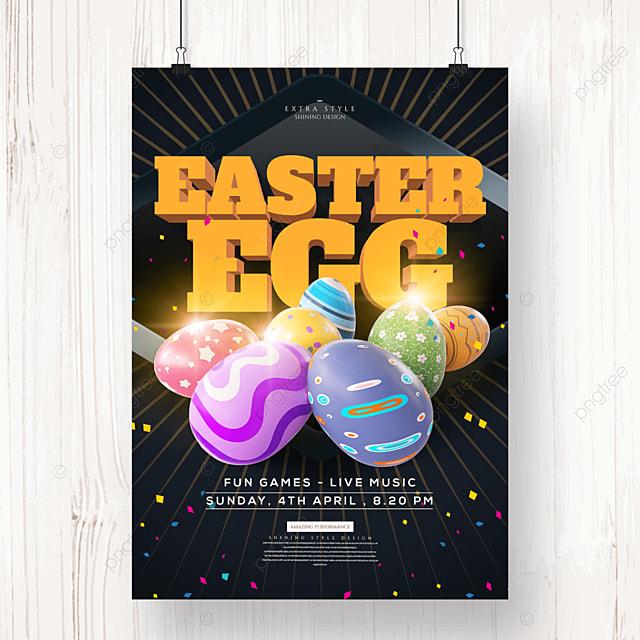 cartoon three dimensional easter egg festival poster