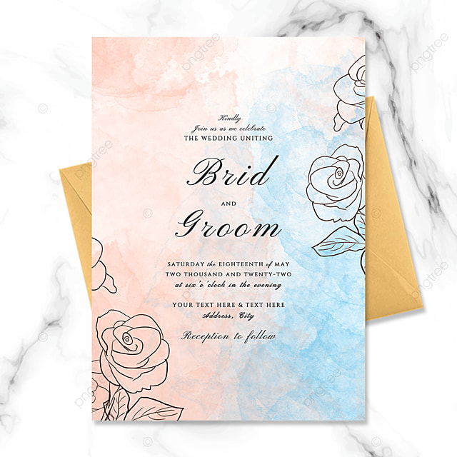 creative and exquisite line drawing flowers and watercolor smudge wedding invitation