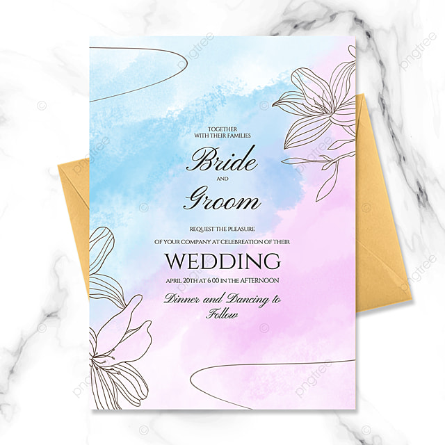creative blue hand painted flowers watercolor blooming wedding invitation
