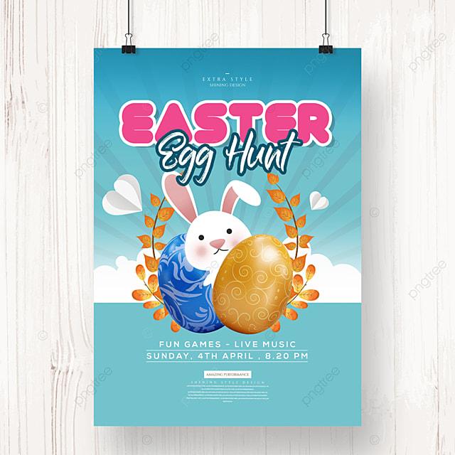 creative cartoon cute easter egg poster