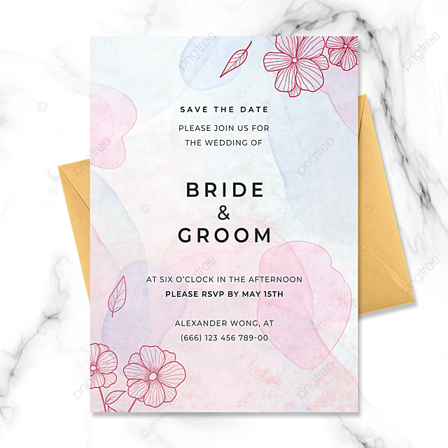 creative hand painted flowers watercolor blooming wedding invitation