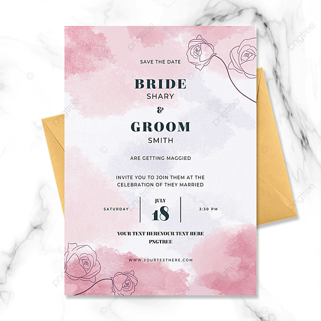 creative pink line drawing flower watercolor smudge wedding invitation