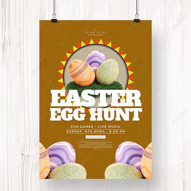 cute cartoon minimalist easter egg holiday poster