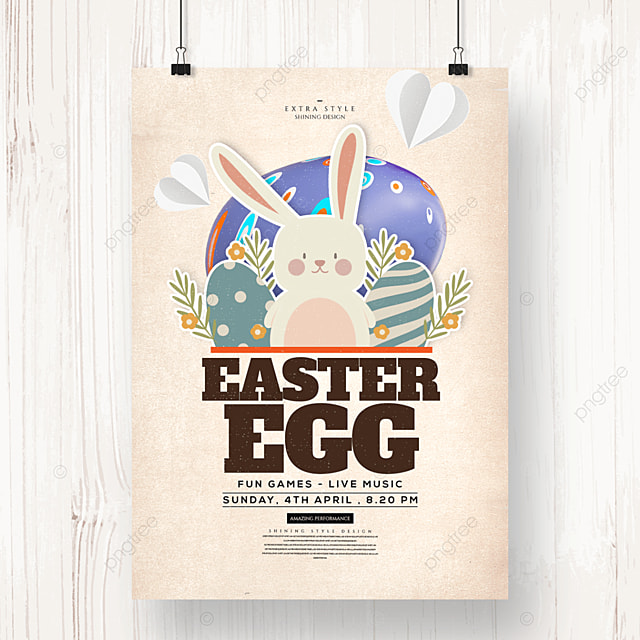 easter egg bunny cute cartoon holiday poster