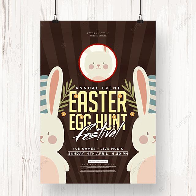 easter retro cartoon bunny holiday poster