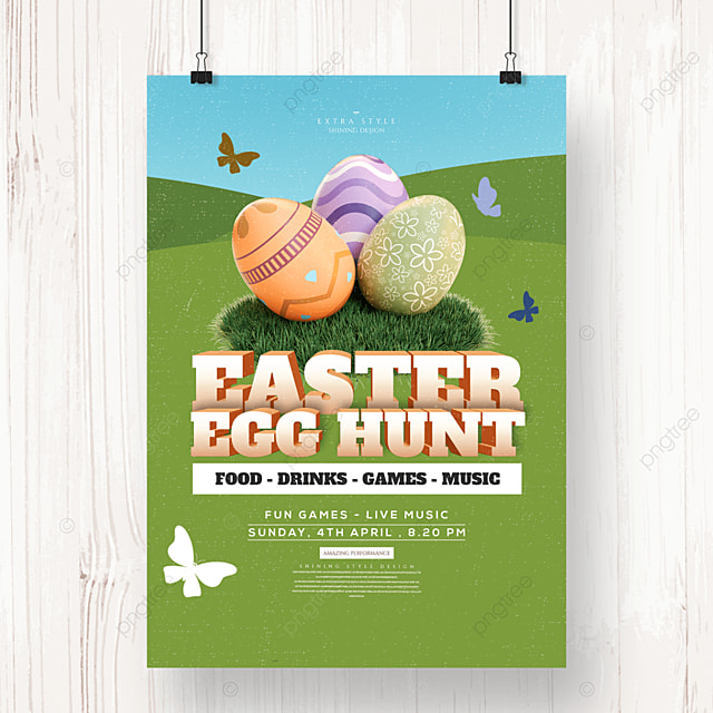 easter three dimensional egg cartoon holiday poster