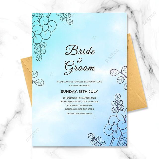 exquisite fashion line drawing flower watercolor smudge art wedding invitation