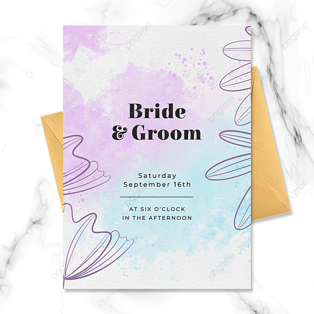 fashion hand drawn floral watercolor blooming wedding invitation