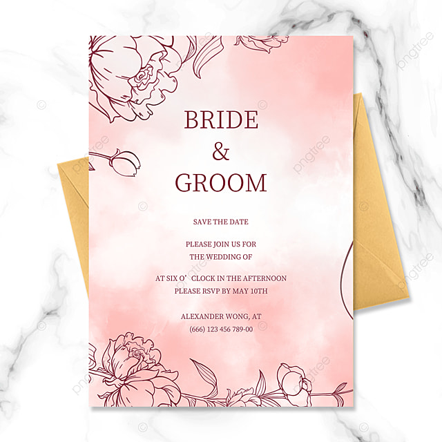 fashion hand drawn line drawing floral watercolor smudge wedding invitation